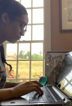 McNair scholar Alexis Riep works on 2019 MSROP research.